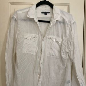 John Varvatos White Linen Shirt